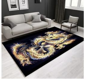 Flaming Skull /& Dragon Rug Carpet 160 x 120CM Flame Dragon  Room carpet