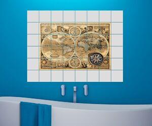 Mappamondo piastrelle adesivo 15 10 25 20cm immagine riquadro