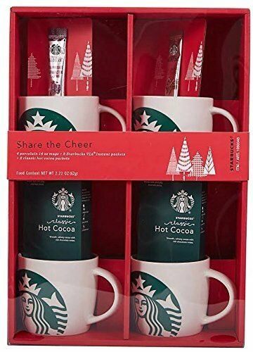 starbucks gift pack 4 porcelain 14oz coffee mugs via instant hot cocoa packets ebay