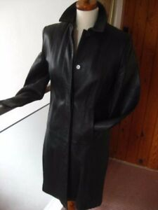 Classic Size M Ladies Jacket Long Coat Black amp;s Trench 14 Leather Line Uk 16 Real qFWqzgp6w
