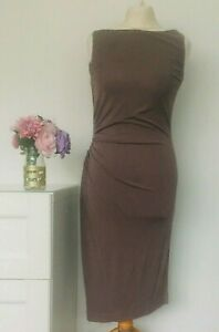 LK-BENNETT-Dress-Size-UK-10-Taupe-BROWN-Wiggle-Pencil-Fitted-Work-Office-Smart