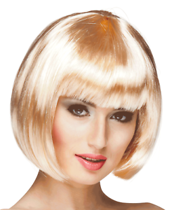 Women/'s Blonde Bob Short Hair Wig Adult One Size Fancy Dress Costume Accessory