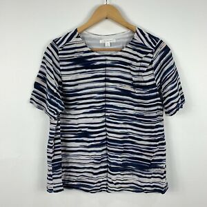 Trenery-Womens-Top-Size-Medium-Pure-Silk-Striped-Short-Sleeve-Good-Condition