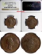 Denmark 1812 IC 12 Skilling Struck Over 1 Skilling KM#616 NGC AU50 BN KM# 673.1