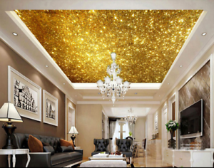 3D Shiny gold Stars 7 Ceiling Wall Paper Print Wall Indoor Wall Murals CA Lemon