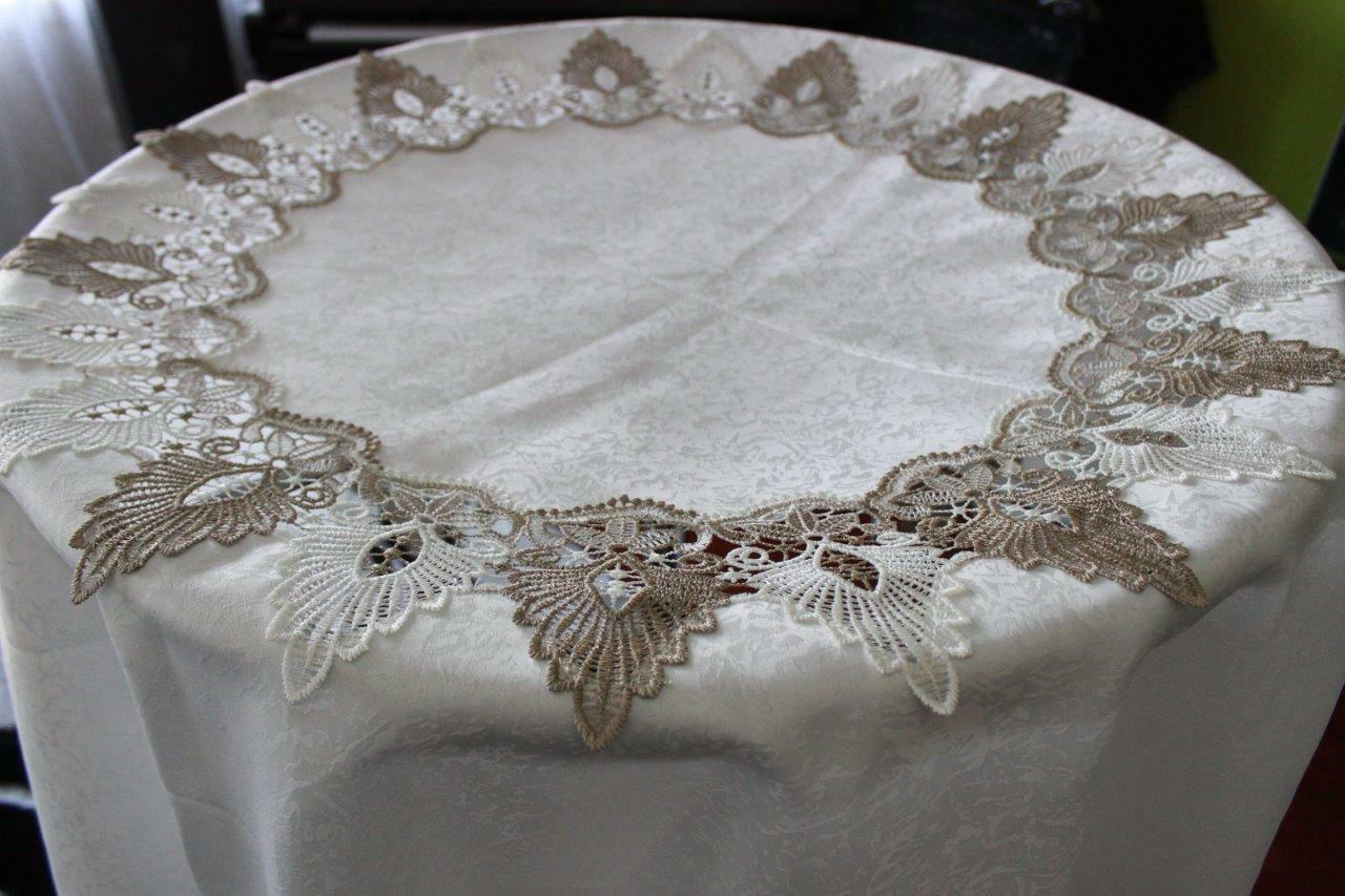 Bianca & grigio Lace Round Dinning table table table Tablecloth 180 cm diameter suits 6-8 seat 2e6225