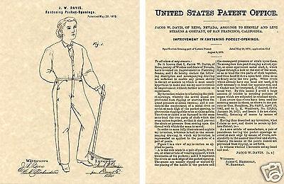 Levi's Strauss Usa Verniciata Per Denim Jeans Stampa Pronto Cornice !!!! 1873 Prezzo Ragionevole