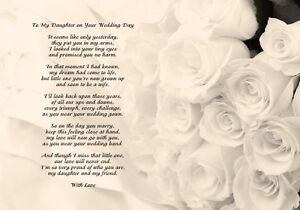 Image Is Loading A4 Poem To My Daughter On Your Wedding