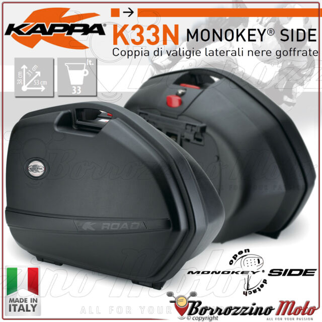 KAPPA K33N KIT PAIRE DE VALISES LATÉRALES MONOKEY SIDE 33LTR NOIR POUR MOTO