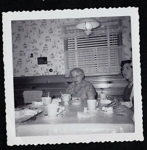 Antique Vintage Photograph People Sitting At Table In Retro Kitchen