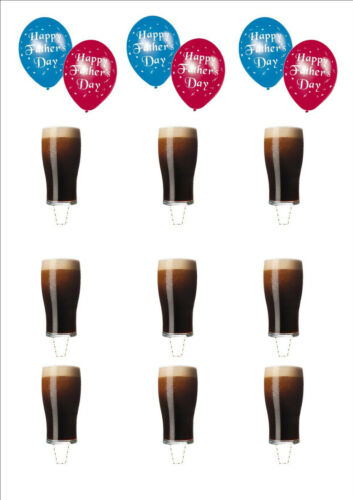 NOVELTY Fathers Day Balloons Pint of Beer Stout STAND UP Edible Cake Toppers