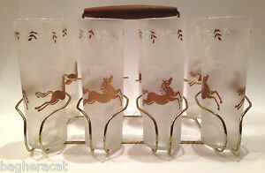 Libbey Cavalcade Gold & White Horses 8 Frosted Glasses Retro MidCentury Barware