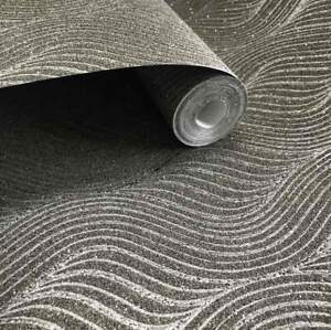 MICA-Sparkle-glitter-Vermiculite-Charcoal-Grey-Dark-3D-Modern-Natural-Wallpaper