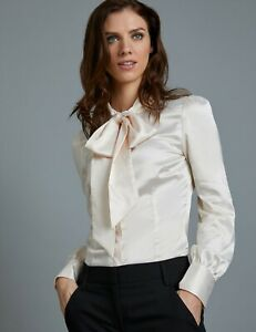 7f3166d93aebf Womens Ladies Fitted Pussy Bow Long Sleeve Elegant Formal Blouse ...
