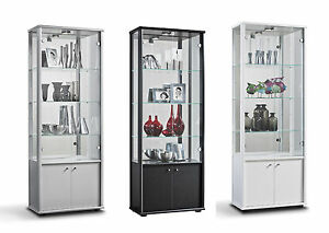 glasvitrine sammlervitrine vitrine led beleuchtet schloss spiegel 4trg c1087 ebay. Black Bedroom Furniture Sets. Home Design Ideas