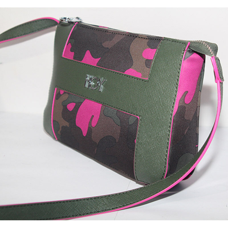 Borsa Hoy Collection Camo Fun Mimetico donna tracolla verde fuxia bag