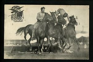 Military-Vintage-postcard-Bareback-Horse-Squad-Army-troops-at-St-Joseph-MO