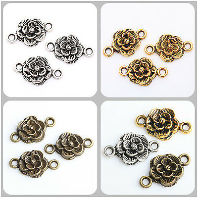 30pcs Tibétain Rétro Argent Or Bronze Fleur Connecteur Charme Pendantif 12X20MM