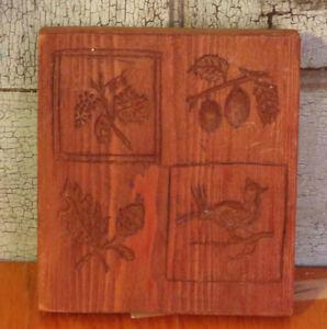 Primitive Antique Carved Wood Springerle Cookie Mold 4 Design Fruits