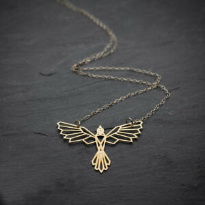 Firebird necklace origami phoenix necklace geometric phoenix gold image is loading firebird necklace origami phoenix necklace geometric phoenix gold aloadofball Gallery