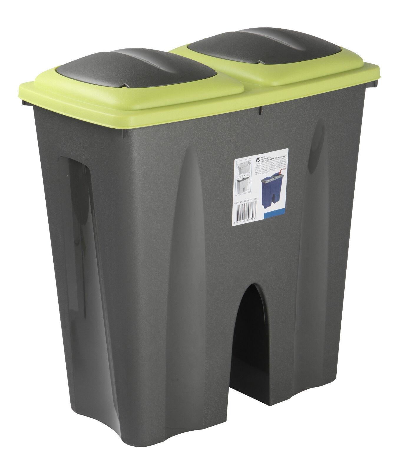 Industrial Kitchen Bin: Kitchen Garden Double Waste Bin Plastic Dust Bin Recycle