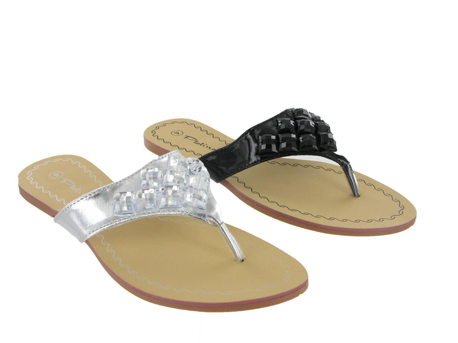 Fashion Summer Flat Toe Post Black Sandals Silver Womens Girls Jewelled Sandals Black UK3-8 7c6699