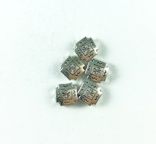 Antique Copper Brass Silver Lead Free 10mm Santa Fe Tile Square Pillow Beads Q40