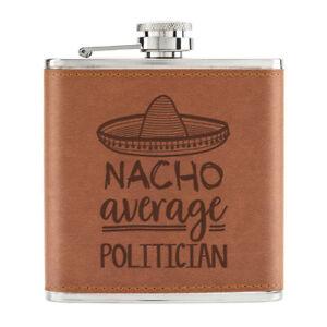 Nacho-Moyenne-Politicien-170ml-Cuir-PU-Hip-Flasque-Fauve-Worlds-Best-Mp-Awesome