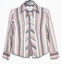 Ann Taylor LOFT - 0P (PXS) - NWT - Pink Striped L/S Cotton Blouse - B/D Shirt