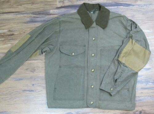 VTG 80s 90s Waxed Cotton Hunting Jacket Mens SZ L Plaid Lined Coat Green A9