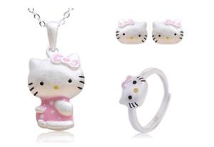 561ce2b6b Pink Hello Kitty Cat Kitten 925 Sterling Silver Jewelry Necklace+ ...