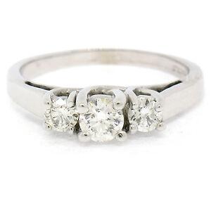 Classique-14k-or-Blanc-0-45ctw-Trois-Pierre-F-VS2-Rond-Fiancailles-Diamant-Bague