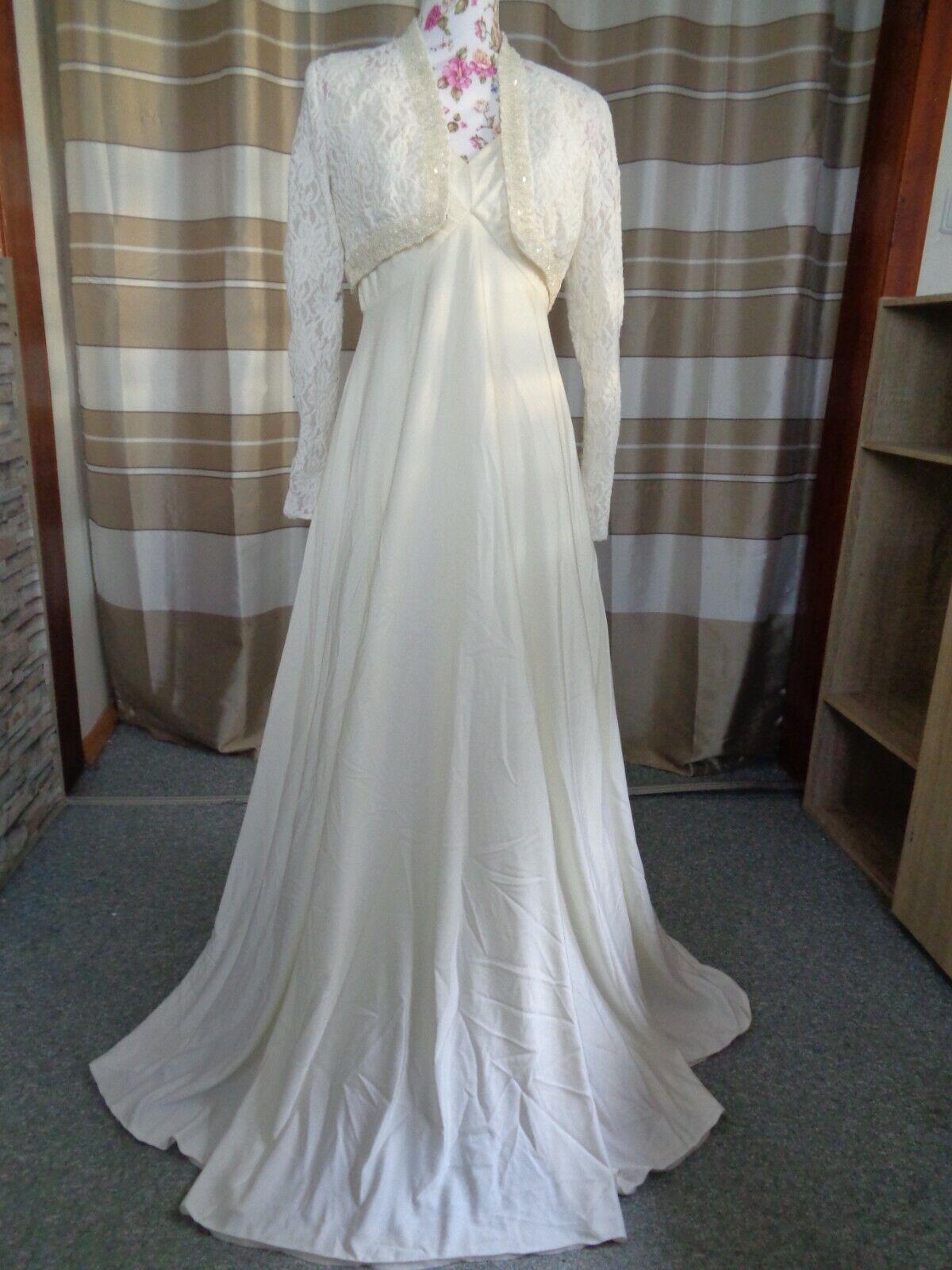(120)Edles Damen Braut Standesamt Abend Kleid + Jacke GR: 38