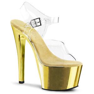 Pleaser Sky-308 Ladies Gold Spike Toe Pump Slide Vegan Shoe Ankle Strap Sandal