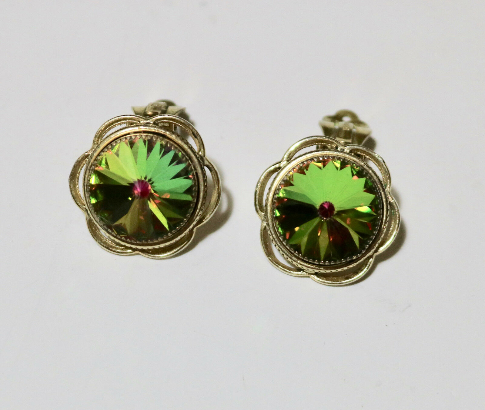Whiting & Davis Co. vintage clip on earrings watermelon pointed stone