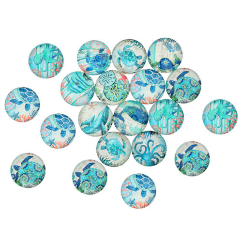 20pcs Ocean Fish Round Glass Cabochon DIY Flatback Jewelry Cameo Findings