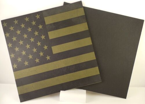 """Kydex Infused Old Glory Subdued on Army Green 7 7//8/"""" X 7 7//8/"""" W//Blk Sheet Kydex"""