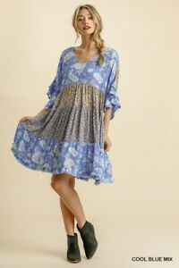 Umgee-Floral-Print-Layered-Ruffled-Bell-Sleeve-Tiered-Dress-Size-Small-Medium