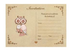 Image Is Loading Vintage Owl Birthday Invitations With Brown Kraft Envelopes