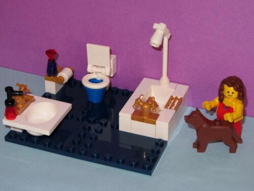 Tile Bathroom Sink Toilet Bathtub Shower WC Dog Bath Mini MADE OF LEGO BRICKS