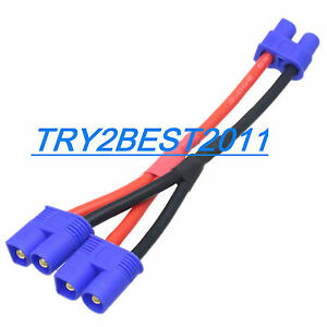 EC3 Parallel Dual Battery Y Splitter Connector Cable Wire Harness RC ...