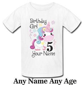 Image Is Loading Personalised Birthday Girl Unicorn Kids T Shirt