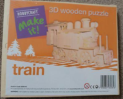 * Nuovo * Hobbycraft 3d Puzzle In Legno Del Treno Nuovo Di Zecca Sigillato-mostra Il Titolo Originale