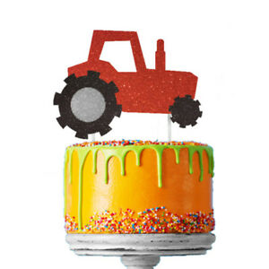 Image Is Loading Tractor Cake Topper Glittery Red Boys Digger