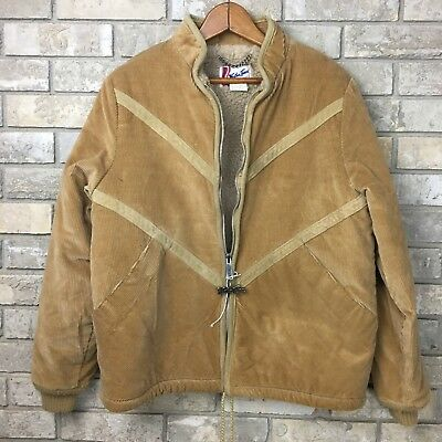 Vintage SPORTSMASTER Mens Jacket L Large Blue Faux Fur Lined Quilted Puff 70s