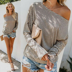 Women-Ladies-Off-Shoulder-T-Shirt-Tops-Sweatshirt-Jumper-Sweater-Pullover-Blouse