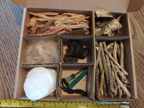 Tinder box firemaking bushcraft fire natural foraged complete kit gift