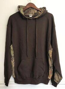 Badger-Sport-Mens-Hoodie-Sweatshirt-Brown-Camo-Hunting-Outdoor-Pullover-Large