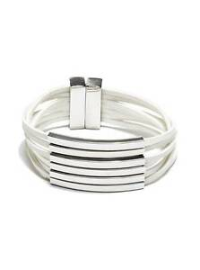 Details About New Guess Polished Silver Tone Bars White Multi Strands Faux Leather Bracelet