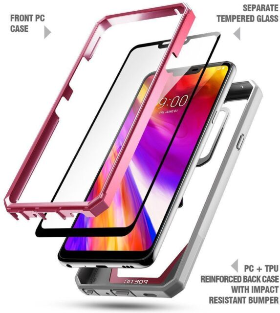 newest 3fb05 879d4 Poetic Guardian Clear Bumper Case With Tempered Glass for LG G7 ThinQ Pink